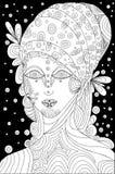 Czarny i biały, szaman, surrealistyczna twarzy dziewczyna również zwrócić corel ilustracji wektora ilustracja wektor
