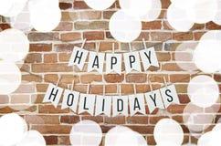 Czarny i biały SZCZĘŚLIWYCH wakacji girlandy ściany papierowa dekoracja Fotografia Royalty Free