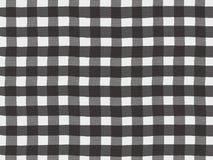 Czarny i biały szkocka krata wzór na bieliźnianej tkaninie Obraz Stock