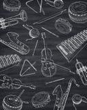 Czarny i biały tło z sylwetkami muzykalni instrumen royalty ilustracja