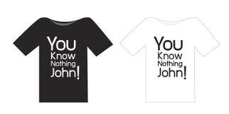 Czarny i biały T koszula Ty znasz nic John ilustracja wektor