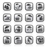 Czarny i biały ubezpieczenia, ryzyka i biznesu ikony, Zdjęcie Stock