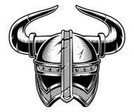 Czarny i biały wektorowa ilustracja Viking hełm ilustracja wektor