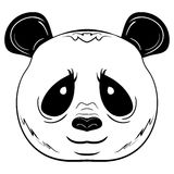 Czarny i biały wektorowa nakreślenie pandy twarz Fotografia Royalty Free
