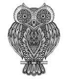Czarny i biały wektorowa ręka rysująca ozdobna sowa Zdjęcia Royalty Free