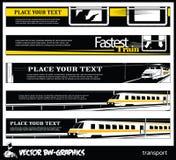 Czarny i biały Wektorowy sztandar Linia kolejowa i pociąg Zdjęcia Stock