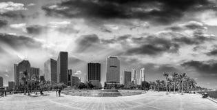 Czarny i biały widok Bayfront budynki w śródmieściu i park Obraz Royalty Free