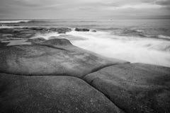 Czarny i biały wizerunek królewiątko plaża Obrazy Stock