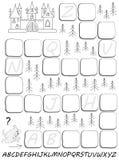 Czarny i biały worksheet z ćwiczeniem dla nauki Angielskiego abecadła Remisu chybiania listy w istotnych miejscach Zdjęcia Stock