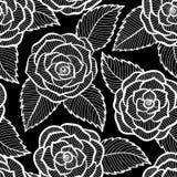 Czarny i biały wzór w różach i liść koronce Fotografia Stock