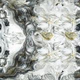 Czarny i biały z złocista abstrakcjonistyczna ręka malującym tłem Fotografia Stock