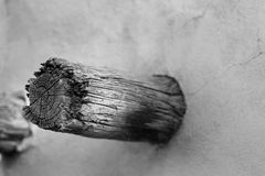 Czarny i biały zbutwiały drewniany promień południowi zachody stwarza ognisko domowe Obraz Royalty Free