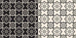 Czarny i biały bezszwowy kwiecisty Delft wzór Zdjęcie Stock