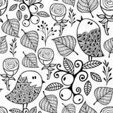 Czarny i biały bezszwowy wzór z doodle natury elementami Fotografia Stock