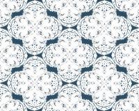 Czarny i biały bezszwowy wzór z kwiecistym i geometrical ornamentem w retro stylu Obrazy Stock