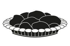 Czarny i biały ciasto talerza sylwetka obrazy stock