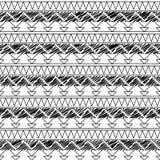 Czarny I Biały Doodle stylu Tileable Bezszwowy Plemienny wzór royalty ilustracja