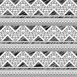 Czarny I Biały Doodle stylu Tileable Bezszwowy Plemienny wzór ilustracji