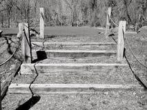 Czarny i biały drewniani kroki Zdjęcie Stock
