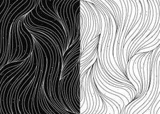 Czarny i biały falowi wzory wektorowi Obraz Royalty Free