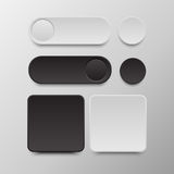 Czarny i biały guzika Round i kwadratowi ustaleni guziki fotografia stock