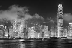 Czarny I Biały Hong Kong linia horyzontu Obrazy Stock