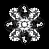 Czarny i biały indyki, wzór Ilustracji