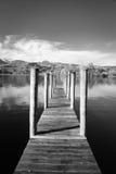 Czarny I Biały jetty na jeziorze Obraz Stock
