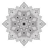 Czarny i biały kurenda wzór, mandala lub Zdjęcie Stock