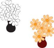 Czarny I Biały kwiat ilustracje, Yellwo kwiaty Fotografia Stock