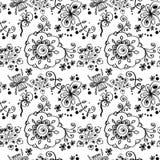 Czarny i biały kwiecisty bezszwowy wzór. Zdjęcie Royalty Free
