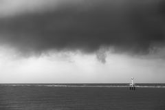 Czarny i biały latarnia morska Zdjęcie Royalty Free