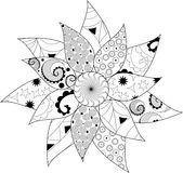 Czarny i biały mandala Obrazy Royalty Free