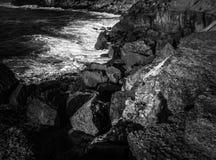 Czarny i biały morze Fotografia Stock