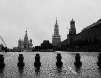 Czarny i biały plac czerwony w Moskwa Obrazy Stock