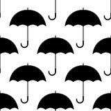 Czarny i biały proste parasol sylwetki, bezszwowy wzór, wektor Zdjęcia Royalty Free