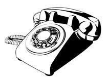 Czarny I Biały Retro Obrotowa telefonu wektoru kreskówka Ilustracja Wektor