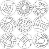 Czarny i biały round ornamenty, dekoracje lub Zdjęcia Royalty Free