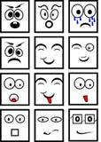Czarny i biały smileys Obrazy Stock