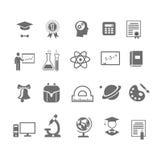 Czarny i biały sylwetki edukaci szkolnej ikony Obraz Royalty Free