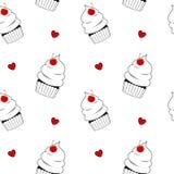 Czarny i biały babeczka z czerwoną czereśniową śliczną bezszwową deseniową tło ilustracją Zdjęcie Stock