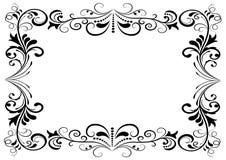 Czarny i biały kwiecista rama Obraz Royalty Free