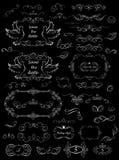 Czarny i biały kwieciste ramy i dekoracyjni elementy dla poślubiać projekt Obrazy Stock