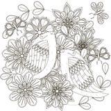 Czarny i biały nakreślenie bukiet z ptakami, stylizującymi kwiatami i motylami, Obraz Stock
