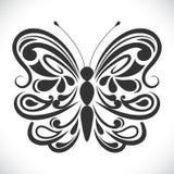 Czarny i biały ornamentacyjny motyl Zdjęcie Royalty Free