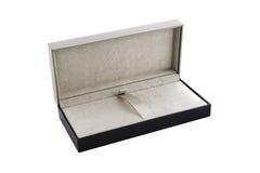 Czarny i brown prezenta pudełka otwarty odosobniony Fotografia Royalty Free