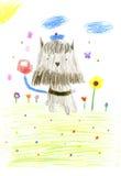 Czarny i brown psi Miniaturowy Schnauzer w śmiesznym błękitnym kapeluszu z royalty ilustracja