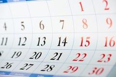 Czarny i czerwony nubers kalendarza prześcieradło Obraz Royalty Free