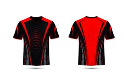 Czarny i czerwony układu sporta koszulki projekta szablon Obraz Royalty Free