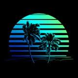 Czarny i niebieskozielony lampasa logo z drzewkami palmowymi Fotografia Royalty Free